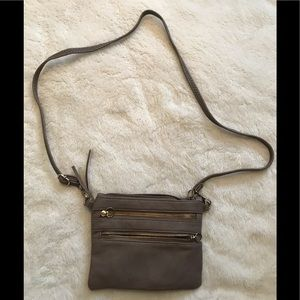 Taupe Faux Leather Crossbody Bag